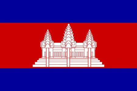 Sovereign state flag of country of Cambodia in official colors.