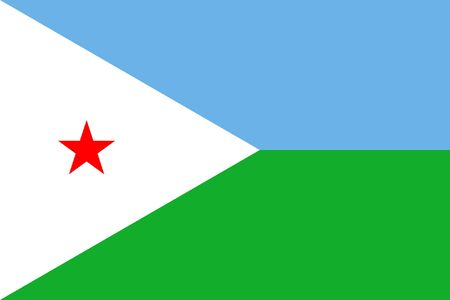 sovereign: Sovereign state flag of country of Djibouti in official colors. Stock Photo