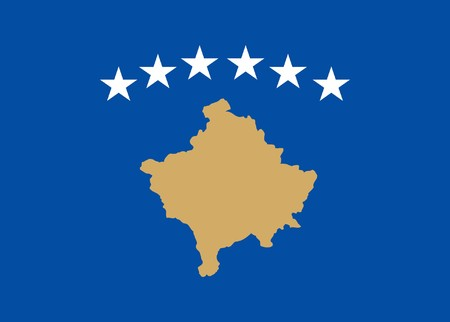 kosovo: Sovereign state flag of country of Kosovo in official colors.