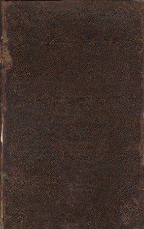 antiquary: Blank old leather book cover. Book is by John Hearne, �The Itinerary of John Leland the Antiquary� (1745). Public domain image by virtue of age.