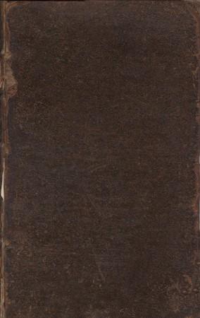 antiquary: Vieja cubierta libro de cuero en blanco. Libro es, por John Hearne, ?The itinerario de John Leland, el Antiquary? (1745). Imagen de dominio p�blico en virtud de la edad.  Foto de archivo