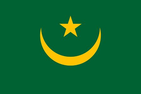 sovereign: Sovereign state flag of country of Mauritania in official colors.
