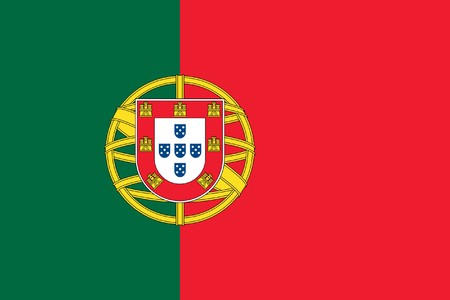 portugal flag: Sovereign state flag of country of Portugal in official colors. Stock Photo