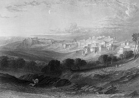 Bethlehem engraving by William Miller after W L Leitch from a sketch by F Arrundale published in The Imperial Bible Dictionary , 1866. Public domain image by virtue of age.
