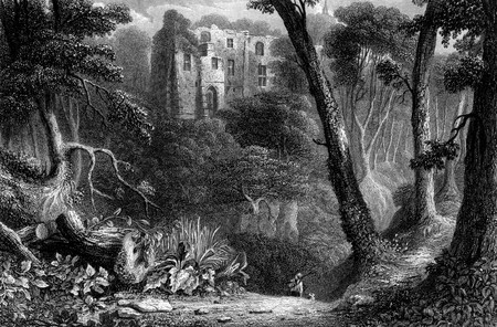 Engraving of Dunfermline Palace viewed through forest of Lyme Burn, Fife Scotland. Engraved by William Miller in 1830. photo