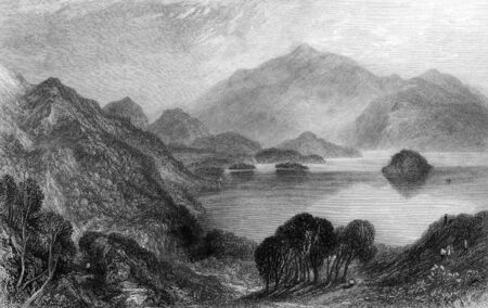 virtue: Engraving of Loch Katrine, Stirling, Scotland. Engraved by William Miller in 1833. Public domain image by virtue of age.