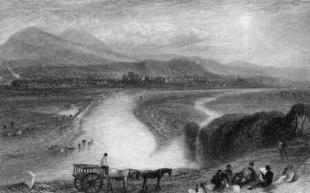 Engraving of Melrose Abbey on banks of river Tweed, Scotland, Engraved by William Miller in 1833. Public domain image by virtue of age. Stock Photo - 7531578