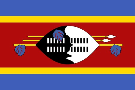 sovereign: Sovereign state flag of country of Swaziland in official colors.
