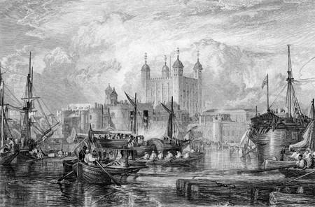 virtue: Tower of London with ships in port on River Thames, England, Engraved by William Miller in 1832. Public domain image by virtue of age.