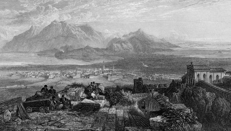 peloponnesus: Engraving of town and Isthmus of Corinth, Greece. Engraved by William Miller and published in the Imperial Bible Dictionary 1866. Public domain image by virtue of age. Stock Photo