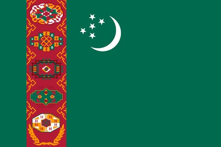 sovereign: Sovereign state flag of country of Turkmenistan in official colors.