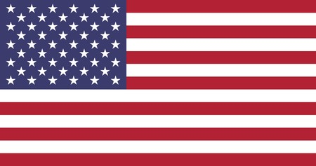 Sovereign state flag of country of United States of America in official colors.