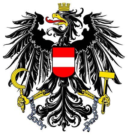 Österreich-Wappen, Siegel oder nationales Emblem, isolated on white Background.