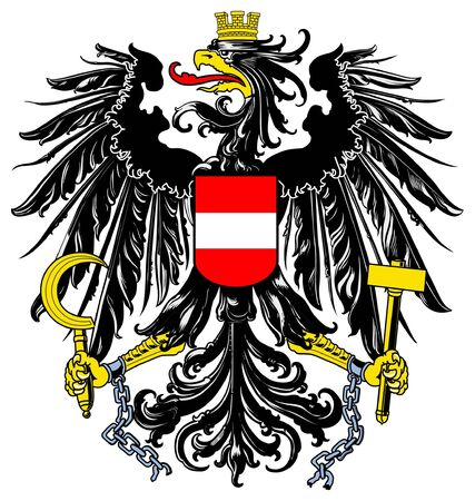 austrian: Austria coat of arms, seal or national emblem, isolated on white background.