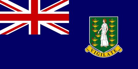 dependent: Sovereign state flag of dependent country of British Virgin Islands in official colors.  Stock Photo