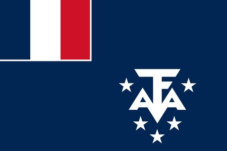 sovereign: Sovereign state flag of dependent country of French Southern Antarctic Lands in official colors.  Stock Photo