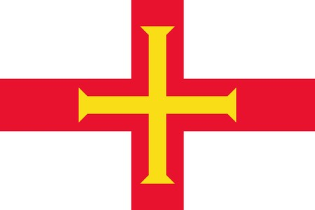 dependent: Sovereign state flag of dependent country of Guernsey in official colors.  Stock Photo