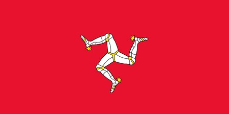 dependent: Sovereign state flag of dependent country of Isle of Man in official colors.  Stock Photo