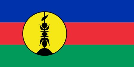 dependent: Sovereign state flag of dependent country of New Caledonia in official colors.