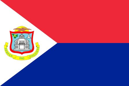 sovereign: Sovereign state flag of dependent country of Sint Maarten in official colors.