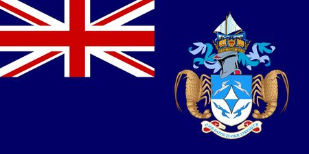 dependent: Sovereign state flag of dependent country of Tristan da Cunha in official colors.   Stock Photo
