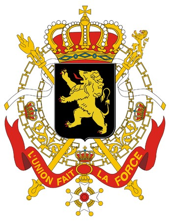 official: Belgium coat of arms, seal or national emblem, isolated on white background.