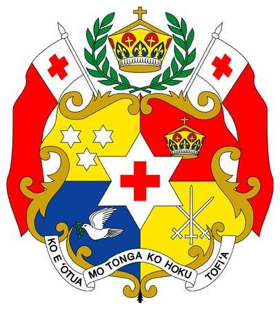 tonga: Tonga coat of arms, seal or national emblem, isolated on white background.