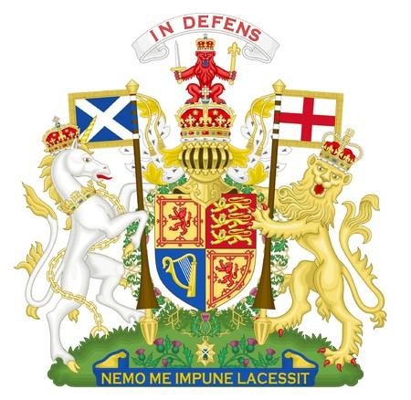 scotland: United Kingdom and Scotland coat of arms, seal or national emblem, isolated on white background. Stock Photo