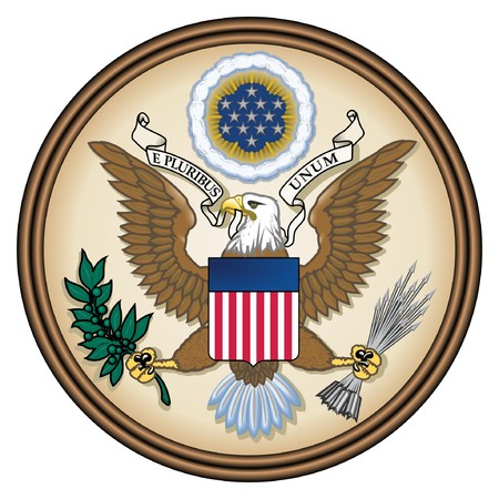 the official: United States Great Seal, coat of arms or national emblem, isolated on white background. Pictured here in Obverse side. Stock Photo