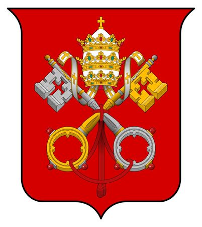 country church: Vatican City coat of arms, seal or national emblem, isolated on white background. Stock Photo