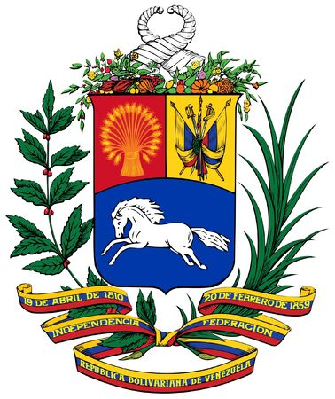 national  emblem: Venezuela coat of arms, seal or national emblem, isolated on white background.