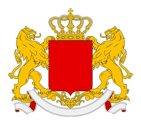 Blank coat of arms, seal or national emblem, isolated on white background. With lions, crown and banner.