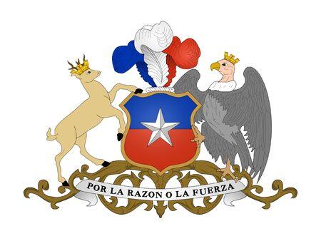 チリの紋章、シールまたは国章、白い背景で隔離されました。 写真素材 - 7664168