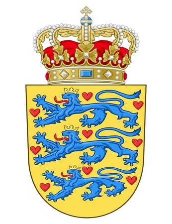 the sovereign: Denmark coat of arms, seal or national emblem, isolated on white background.