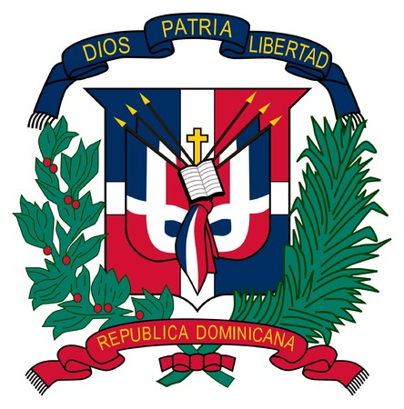 dominican: Dominican Republic coat of arms, seal or national emblem, isolated on white background. Stock Photo