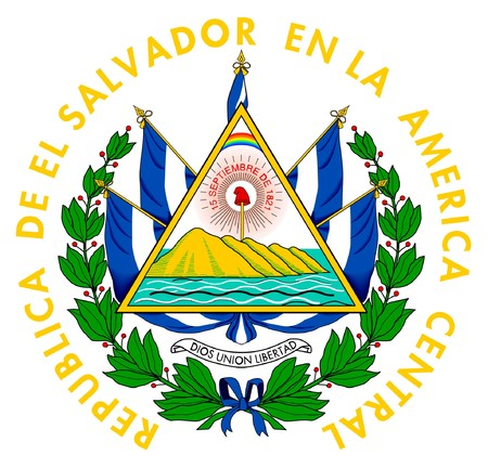 el: El Salvador coat of arms, seal or national emblem, isolated on white background.