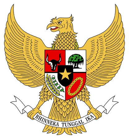 governmental: Indonesia coat of arms, seal or national emblem, isolated on white background.