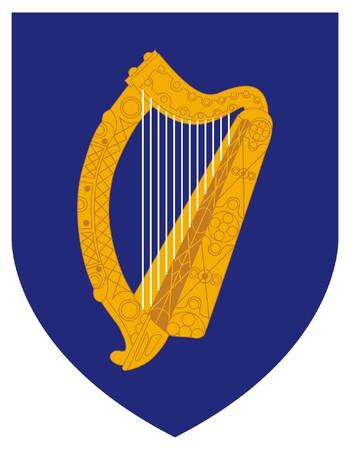 eire: Ireland coat of arms, seal or national emblem, isolated on white background. Stock Photo