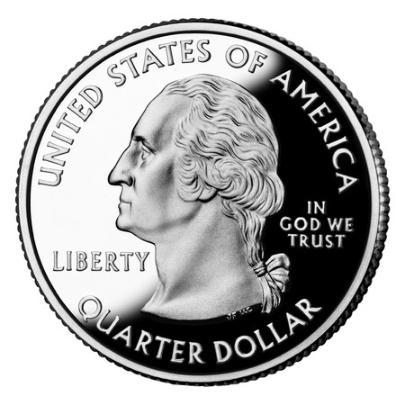 denominational: United States or American quarter dollar isolated on white background. Coin exempt from copyright as design in public domain.