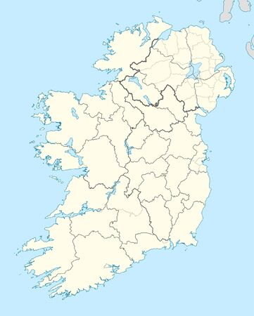 northern ireland: Map of Ireland with country borders illustrated on blue background. Stock Photo