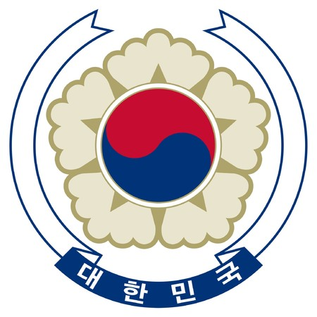 South Korea coat of arms, seal or national emblem, isolated on white background. photo