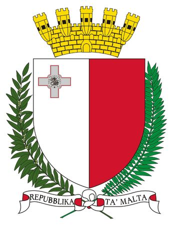 malta: Malta coat of arms, seal or national emblem, isolated on white background. Stock Photo