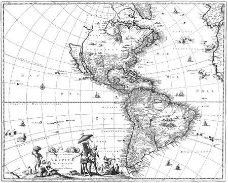 latitude: Map of North America and South America showing California as an island. Stock Photo