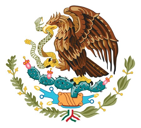 Mexico coat of arms, seal or national emblem, isolated on white background.