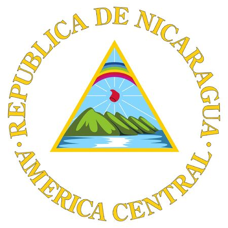 Nicaragua: Nicaragua coat of arms, seal or national emblem, isolated on white background.