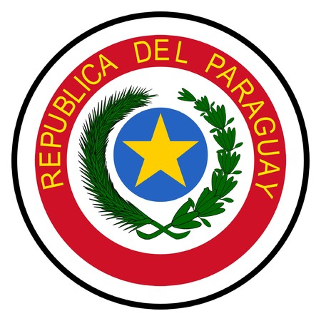 paraguay: Paraguay coat of arms, seal or national emblem, isolated on white background.