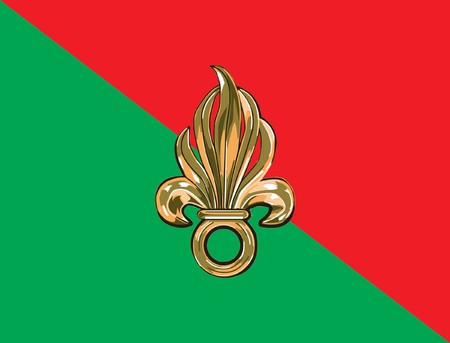 French foreign legion flag in official colors. photo