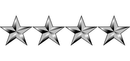 pips: Illustratie van vier sterren van Amerika generaals rang, geïsoleerd op een witte achtergrond. Stockfoto