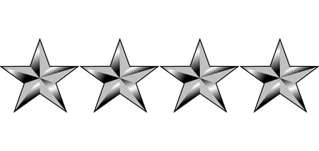 Illustration of four stars of America generals rank, isolated on white background. Stock Photo