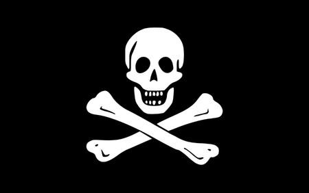 Illustration of jolly roger or skull and cross bones pirate flag.